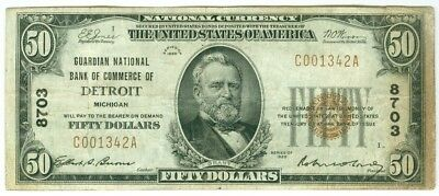1929 $50 Guardian National Bank Of Commerce Of Detroit, Michigan Fr. 8703