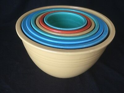RARE Fiesta Nesting Mixing Bowls Set of 7 Red Blue Homer Laughlin 1-7 VINTAGE