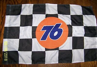 Vintage Union 76 advertising polyester checkered flag with emblem