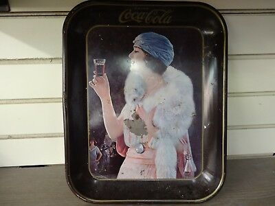 Antique Coca Cola Tray 1925  Flapper Girl with white fox stole reproduction 1973