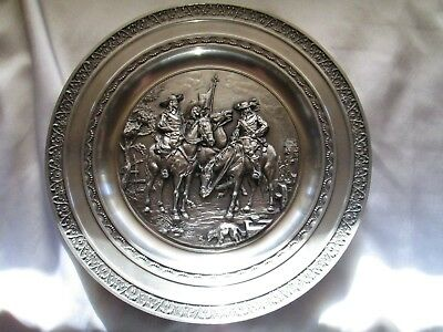 """Belgian Pewter 3 Musketeers """"Let's Ride"""" Wall Plaque"""