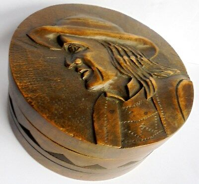 Antique Black Forest Carved Wooden Box. very unusual piece in good condtion.