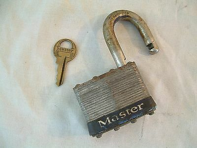 Vintage Antique Old LG Master Padlock Lock No.5 Milwaukee WI. U.S.A. 1 Key Works