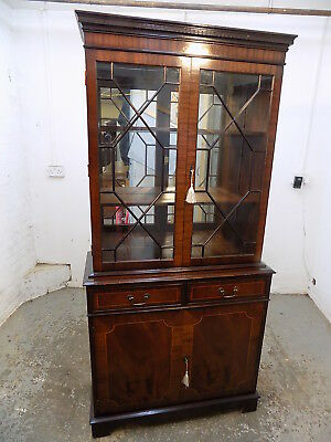 antique,style,reproduction,mahogany,bookcase,glazed doors,drawers,cupboard