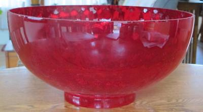 Large Vintage Ruby Red Glass Shade For Victorian Hanging Lamp