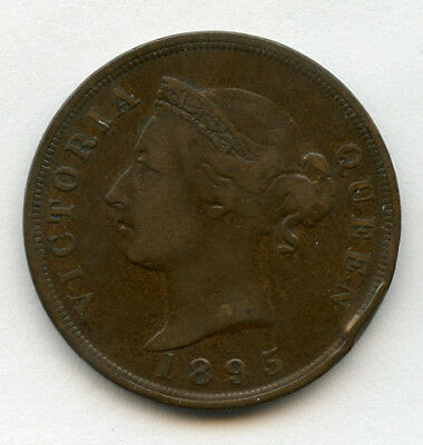CYPRUS 1895 ISSUE Qn.VICTORIA PIASTRE SCARCE COIN,LOW MINTAGE BROWN VF..