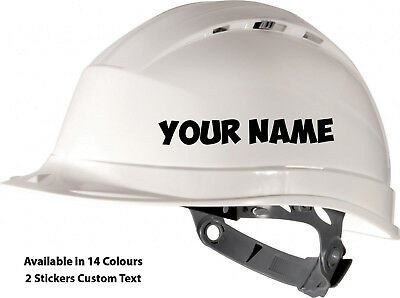2 x Custom Text Personalised Name Hard Hat Safety Work Helmet Vinyl Stickers HH1