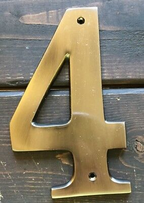 New Metal Front Door house Number 4 Outdoor Sign Antique Silver Color