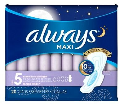 Always Pads Size 5 Maxi 20 Count Xtra Heavy Overngt