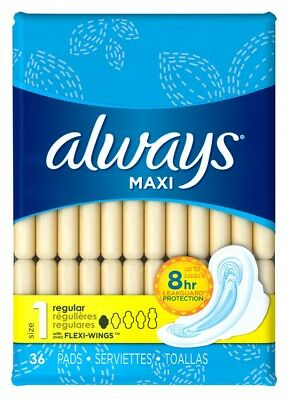 (2 Pack) ALWAYS PADS SIZE 1 MAXI 36 COUNT REGULAR