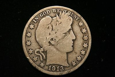 1913 Barber Silver Half Dollar,   GOOD ,  Better Date!