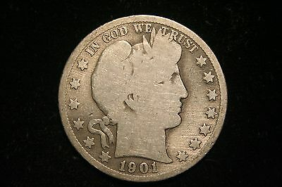 1901 S  Barber Silver Half Dollar,  GOOD , 90% US Coin, Better Date!