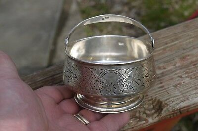 Engraved 1895 Russian 84  Silver Candy Dish , Candy Dish Moscow Maker Hallmrk