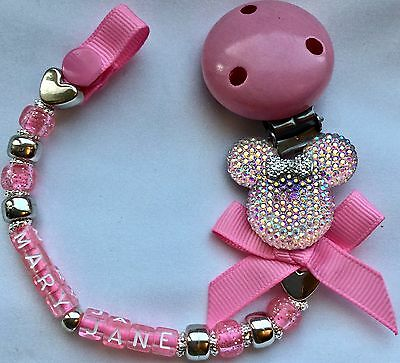 ❤ PERSONALISED Your Name Choice ❤ Dummy Clip ❤ PEARLESCENT PINK SPARKLE MINNIE ❤