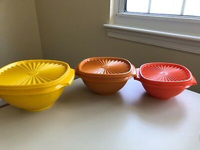 Tupperware Servalier Nesting Storage Bowls Handles Harvest Colors With Lids