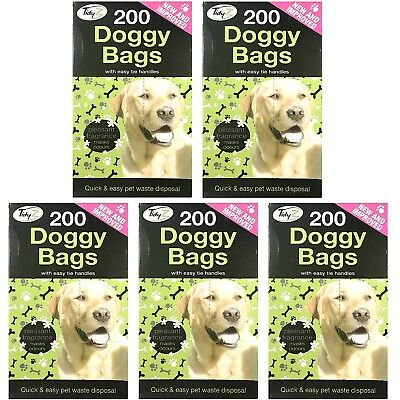 1000 TidyZ  Scented Fragranced Doggy Poo Pet Waste Bags With Tie Handles Dog Cat