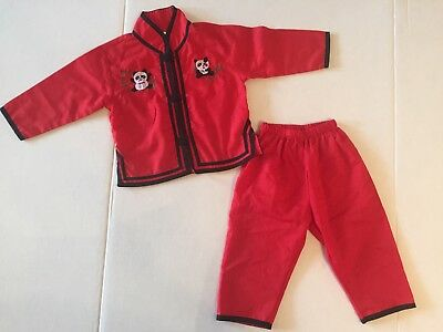 Unisex Size 1/12 Months Asian Inspired Outfit Or Pajamas Kimono Red Black Panda