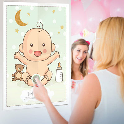 Pin the Dummy on the Baby Game Baby Shower Party Games Boy Girl Unisex Stick