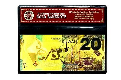 New Kuwait Banknote 24Kt 99.95% Gold  20 Dinar 3D  Colored Note Free  Coa.