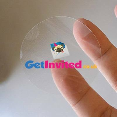 Personalised Clear Stickers Gloss Transparent Round Circle  Logo Labels 25Mm