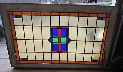 Large Gorgeous Antique Stained Glass Leaded Window  Great