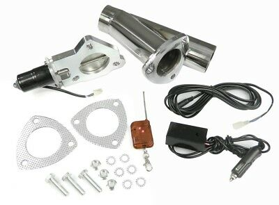"STAINLESS UNIVERSAL EXHAUST CUTOUT-OUT VALVE E-CUT KIT REMOTE 2.5"" / 63,5mm"