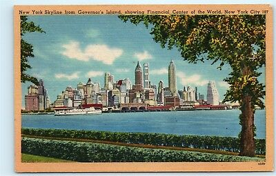 *Skyline from Governor's Island New York City NYC Vintage Linen Postcard B24