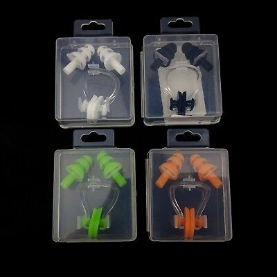 Swimming Ear Plugs And Nose Clip Set In a Box  Diving Water Pool Soft Silicone