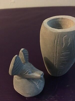 rare ancient egyptian black basalt canopic jar Of anubis 26 dyn 300 BC