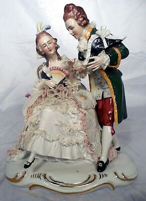 German DRESDEN Porcelain LACE  FIGURE Grouping Courting Couple Man Woman