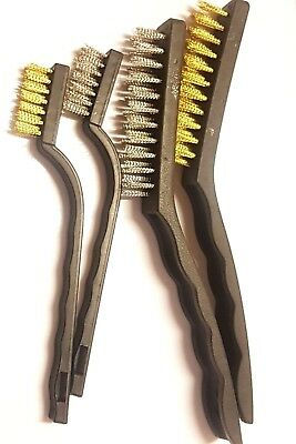 4 Piece Wire Brush Set Steel & Brass Brushes Rust Paint Cleaning Remover Scraper