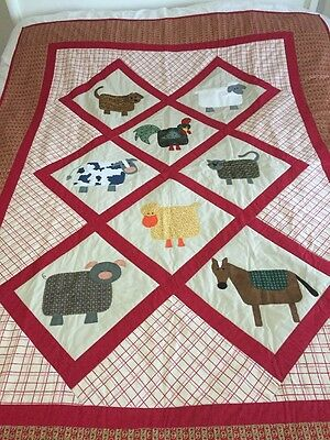"handmade patchwork quilt 'farm Animals' With Appliqué Size 53"" X 69"""
