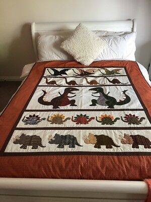 "Handmade Patchwork Quilt ""little Dinosaurs"" size 52"" x 64"" with applique"
