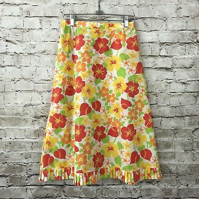 Women's The Lilly Sportswear Division Lilly Pulitzer Vtg Hawaiian Floral Skirt 6