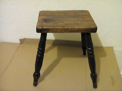 19thC Antique Milking Stool Very Rustic primitive perfect knott wear.