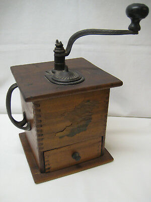 Antique Primitive Dove Tailed Wood & Cast Iron Coffee Grinder Mill w/ Drawer