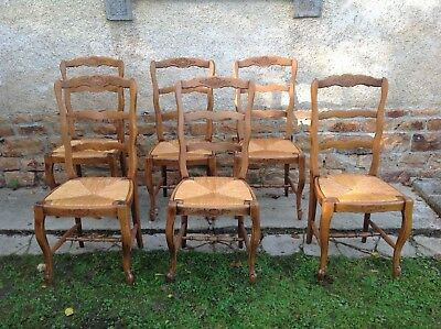 French vintage Louis Philippe style set of 6 dining chairs