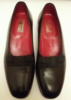 Gianfranco Ferrè Mens Opera Pump Bows Matt Black Leather Formal Pumps SIZE IT 43