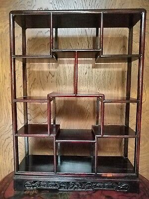 Vintage Chinese Rosewood Open Display Curio Cabinet with 11 Display Compartments