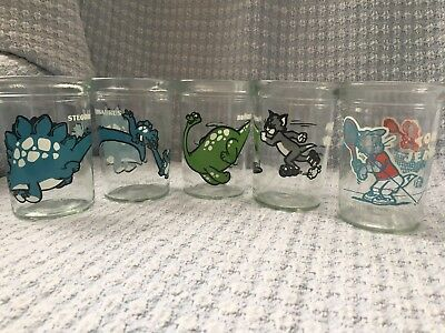 Lot 4 Vintage Welch's Jam Jelly Jar Glass Tumblers Dinosaur Tom & Jerry Glasses