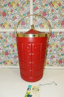 Vintage LustroWare Triple Insulated Ice and Wine Bucket Red with Gold Trim & Tag