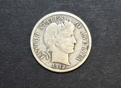 1912-P Barber One Dime Coin Silver 90%  C8548