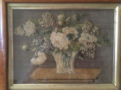 Rare and unusual embroidery picture or sampler on wire mesh