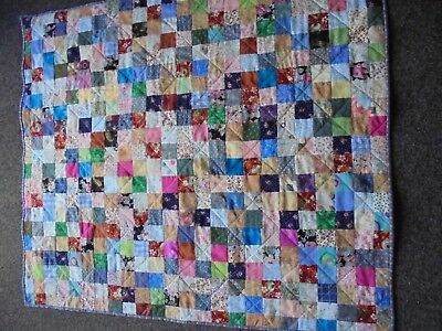 Handcrafted Lap or small Quilt. patchwork.  98 cm  x 110 cm approx.  all cotton
