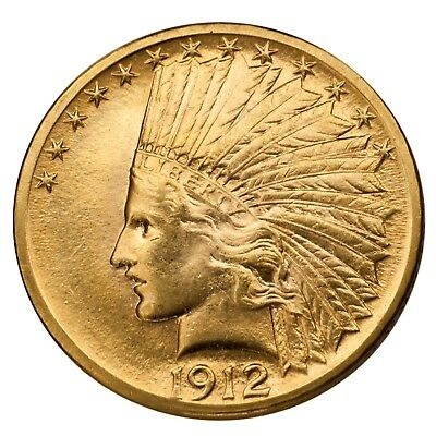 1912 $10 Gold Eagle Indian Head About Uncirculated Condition