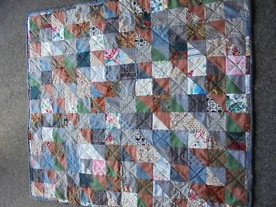 Handcrafted Lap or small Quilt. patchwork.  102 cm x 112  approx.