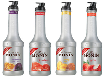 4 x MONIN Puree 1L Smoothie & Cocktail mix - Choose from 12 Flavours