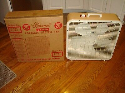 Vintage LAKEWOOD BREEZE BOX ELECTRIC FAN 20-INCH MODEL P-223 w/ Original Box WOW