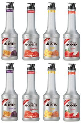 8 x MONIN Puree 1L Smoothie & Cocktail mix - Choose from 12 Flavours