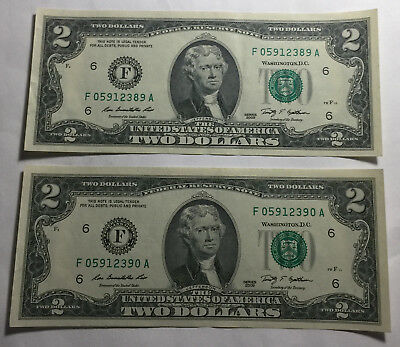 Bulk Lot of 2 - United States 2009 Two Dollars Consecutive Serial Numbers Notes